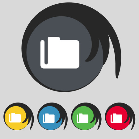 map case: Document folder icon sign. Symbol on five colored buttons. Vector illustration