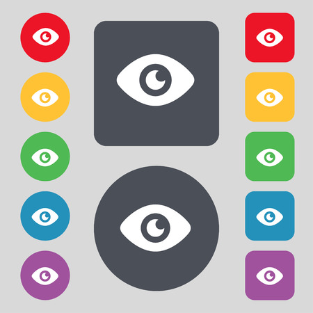 publish: Eye, Publish content  icon sign. A set of 12 colored buttons. Flat design. Vector illustration Illustration