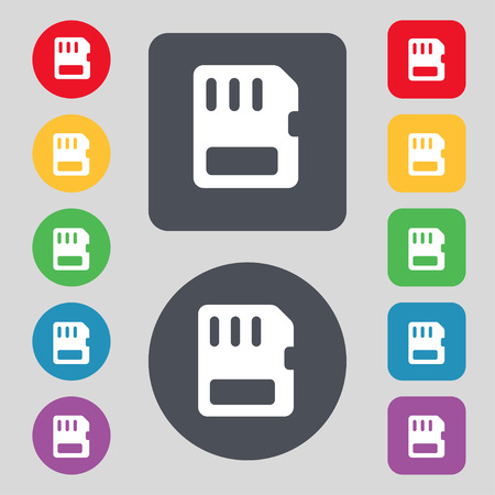 memory card: compact memory card  icon sign. A set of 12 colored buttons. Flat design. Vector illustration