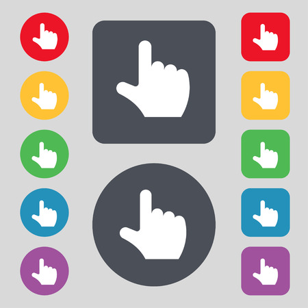 pointing hand  icon sign. A set of 12 colored buttons. Flat design. Vector illustration Vector