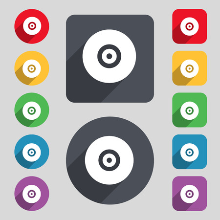 cdr: CD or DVD  icon sign. A set of 12 colored buttons and a long shadow. Flat design. Vector illustration