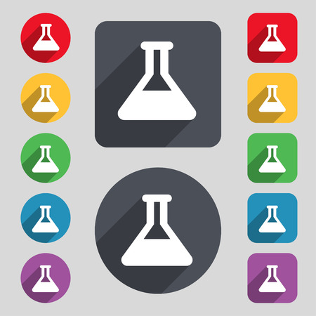 conical: Conical Flask  icon sign. A set of 12 colored buttons and a long shadow. Flat design. Vector illustration