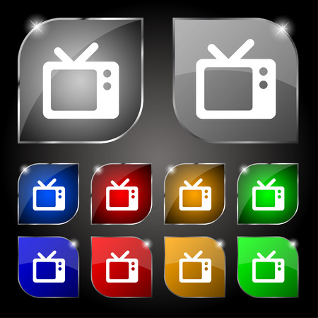 television aerial: Retro TV icon sign. Set of ten colorful buttons with glare. Vector illustration