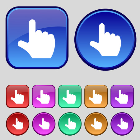 www arm: pointing hand icon sign. A set of twelve vintage buttons for your design. Vector illustration