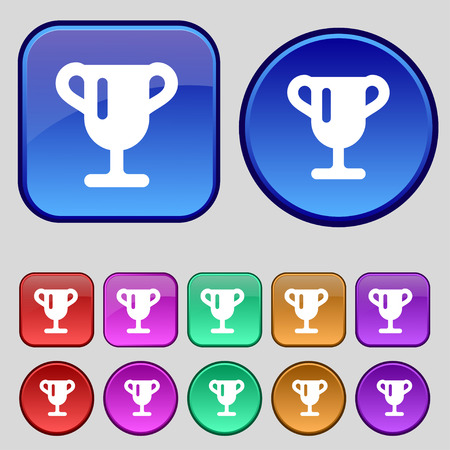 awarding: Winner cup, Awarding of winners, Trophy icon sign. A set of twelve vintage buttons for your design. Vector illustration