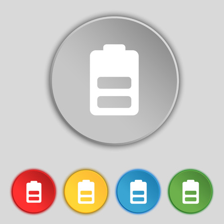 electricity icon: Battery half level, Low electricity icon sign. Symbol on five flat buttons. Vector illustration
