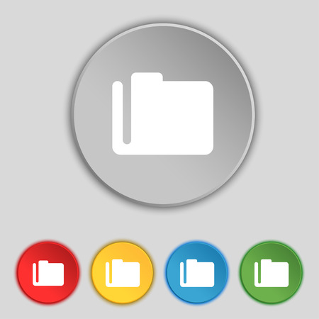 map case: Document folder icon sign. Symbol on five flat buttons. Vector illustration