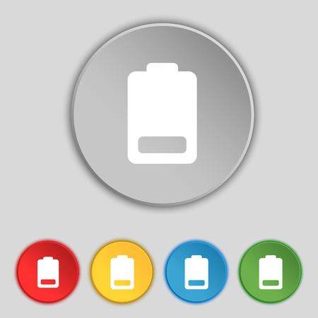 electricity icon: Battery low level, Electricity icon sign. Symbol on five flat buttons. Vector illustration