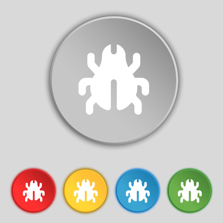 acarus: Software Bug, Virus, Disinfection, beetle icon sign. Symbol on five flat buttons. Vector illustration
