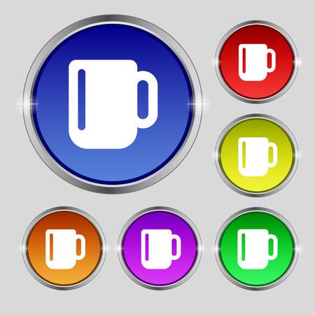 tasse caf�: tasse de caf� ou de th� ic�ne signe. Symbole ronde sur les boutons lumineuses et color�es. Vector illustration