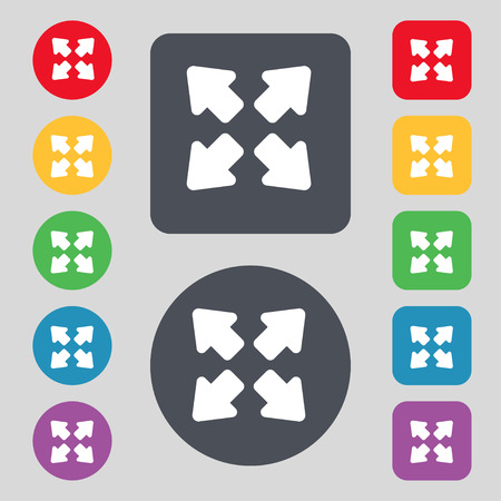 wider: Deploying video, screen size  icon sign. A set of 12 colored buttons. Flat design. Vector illustration