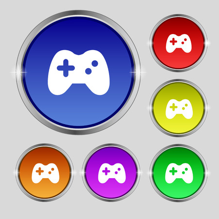 quality controller: Joystick icon sign. Round symbol on bright colourful buttons. Vector illustration