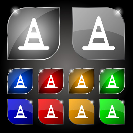traffic pylon: road cone icon sign. Set of ten colorful buttons with glare. Vector illustration