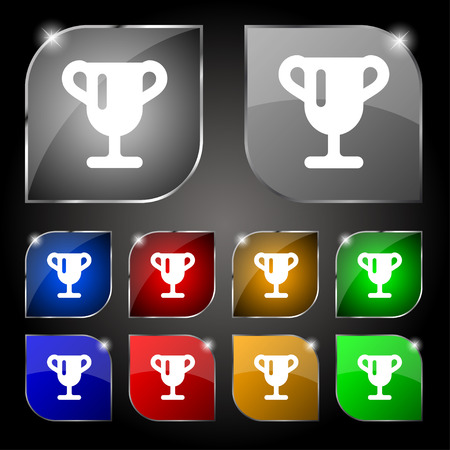 awarding: Winner cup, Awarding of winners, Trophy icon sign. Set of ten colorful buttons with glare. Vector illustration