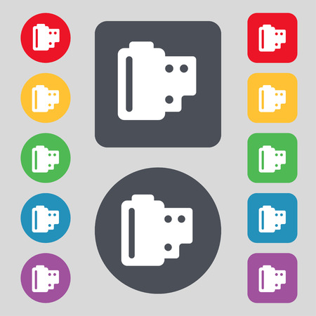 35 mm: 35 mm negative films  icon sign. A set of 12 colored buttons. Flat design. Vector illustration