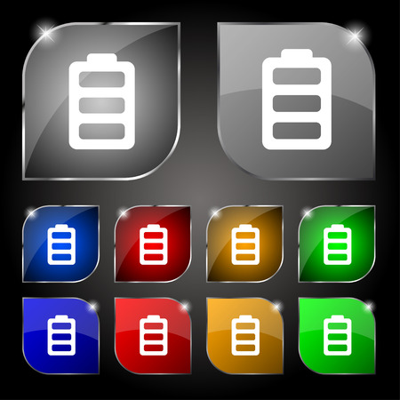 charged: Battery fully charged icon sign. Set of ten colorful buttons with glare. Vector illustration