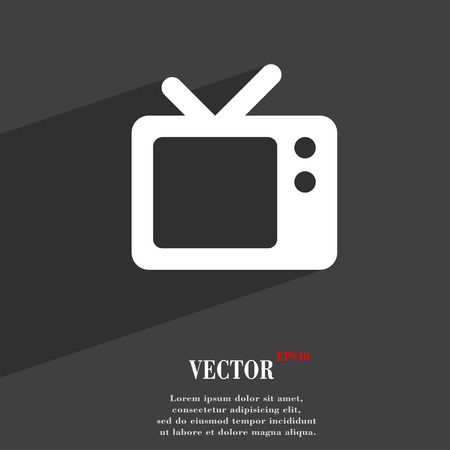 television aerial: Retro TV  icon symbol Flat modern web design with long shadow and space for your text. Vector illustration