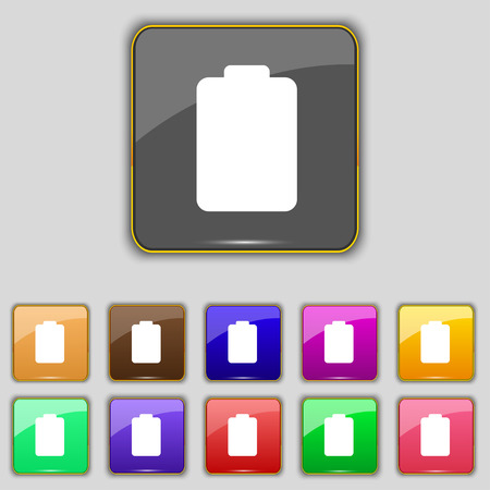 electricity icon: Battery empty, Low electricity icon sign. Set with eleven colored buttons for your site. Vector illustration