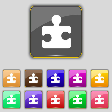 puzzle corners: Puzzle piece icon sign. Set with eleven colored buttons for your site. Vector illustration
