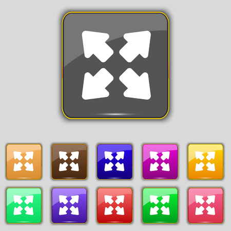 Deploying video, screen size icon sign. Set with eleven colored buttons for your site. Vector illustration