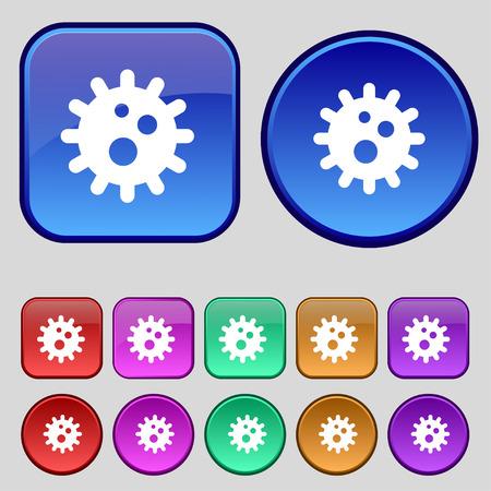 naval: naval mine icon sign. A set of twelve vintage buttons for your design. Vector illustration