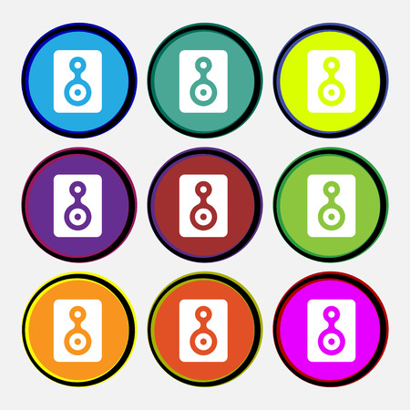 vcr: Video Tape  icon sign. Nine multi-colored round buttons. Vector illustration