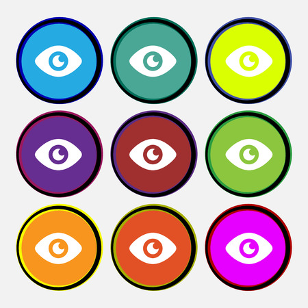 visibility: Eye, Publish content  icon sign. Nine multi-colored round buttons. Vector illustration