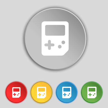 tetris: Tetris icon sign. Symbol on five flat buttons. Vector illustration