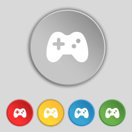 quality controller: Joystick icon sign. Symbol on five flat buttons. Vector illustration