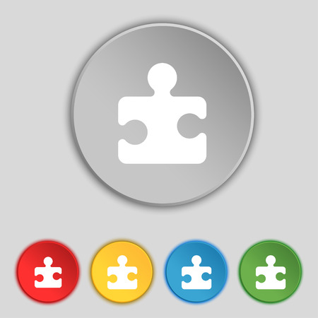 conundrum: Puzzle piece icon sign. Symbol on five flat buttons. Vector illustration Illustration