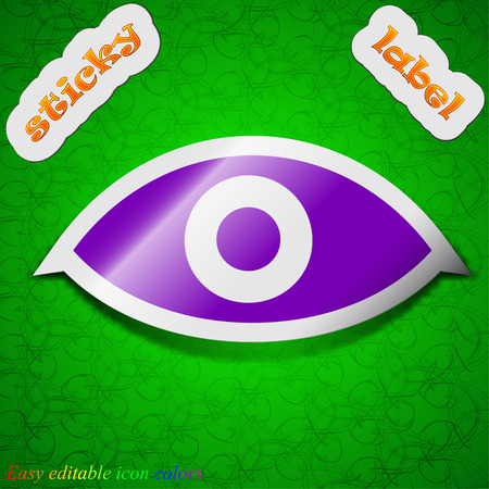 visibility: Eye, Publish content, sixth sense, intuition  icon sign. Symbol chic colored sticky label on green background. Vector illustration