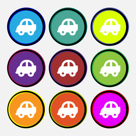 racing sign: Auto  icon sign. Nine multi-colored round buttons. Vector illustration Illustration