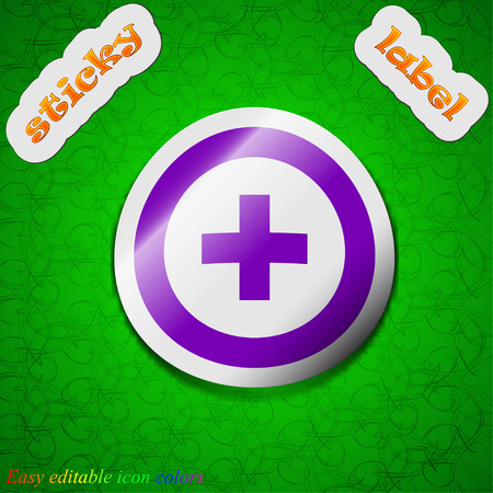 green plus: Plus, Positive  icon sign. Symbol chic colored sticky label on green background. Vector illustration