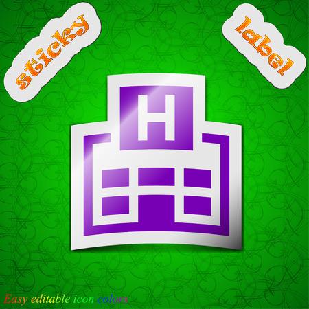 big break: Hotkey  icon sign. Symbol chic colored sticky label on green background. Vector illustration Illustration