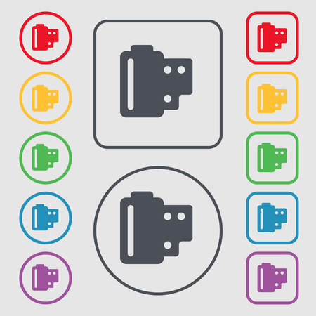 exposed: 35 mm negative films icon sign. symbol on the Round and square buttons with frame. Vector illustration