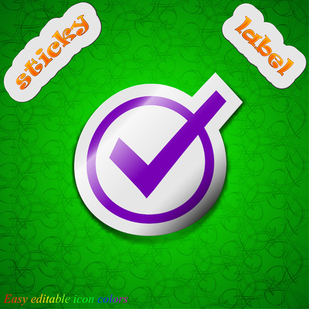 Check mark, tik  icon sign. Symbol chic colored sticky label on green background. Vector illustration