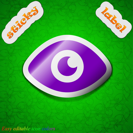 publish: Eye, Publish content  icon sign. Symbol chic colored sticky label on green background. Vector illustration