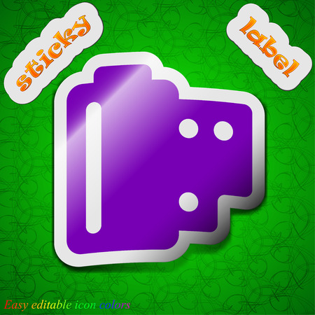 processed: 35 mm negative films  icon sign. Symbol chic colored sticky label on green background. Vector illustration