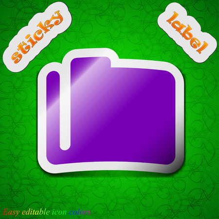map case: Document folder  icon sign. Symbol chic colored sticky label on green background. Vector illustration