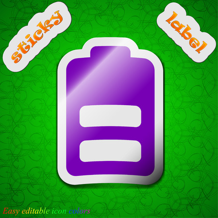 electricity icon: Battery half level, Low electricity  icon sign. Symbol chic colored sticky label on green background. Vector illustration