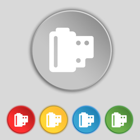 35 mm: 35 mm negative films icon sign. Symbol on five flat buttons. Vector illustration