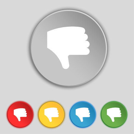 Dislike, Thumb down, Hand finger down icon sign. Symbol on five flat buttons. Vector illustration