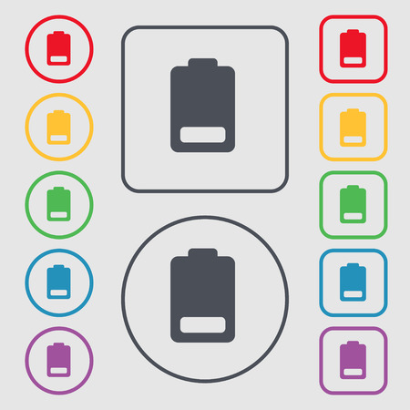 electricity icon: Battery low level, Electricity icon sign. symbol on the Round and square buttons with frame. Vector illustration