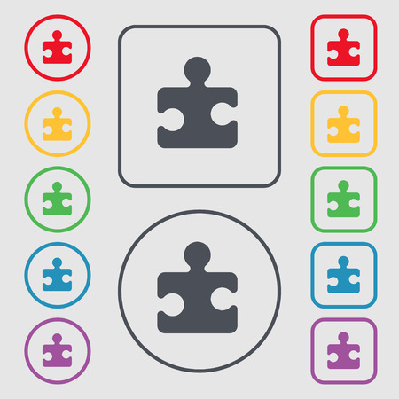 conundrum: Puzzle piece icon sign. symbol on the Round and square buttons with frame. Vector illustration