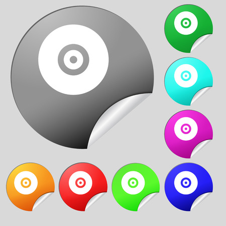 cdr: CD or DVD  icon sign. Set of eight multi-colored round buttons, stickers. Vector illustration