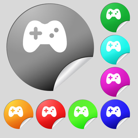 quality controller: Joystick  icon sign. Set of eight multi-colored round buttons, stickers. Vector illustration