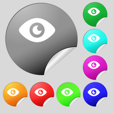 publish: Eye, Publish content  icon sign. Set of eight multi-colored round buttons, stickers. Vector illustration