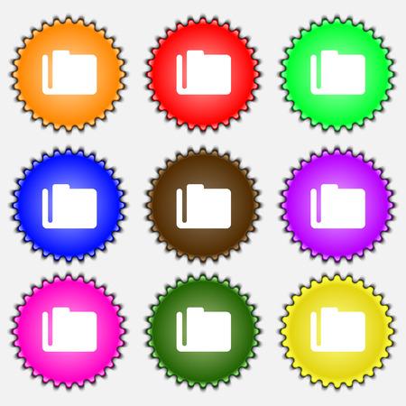 map case: Document folder  icon sign. A set of nine different colored labels. Vector illustration Illustration