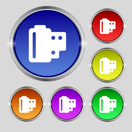 35 mm: 35 mm negative films icon sign. Round symbol on bright colourful buttons. Vector illustration Illustration