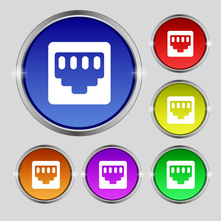 interconnect: cable rj45, Patch Cord icon sign. Round symbol on bright colourful buttons. Vector illustration Illustration